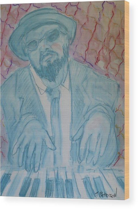 Thelonious Monk Wood Print featuring the painting Round Midnight by Todd Peterson