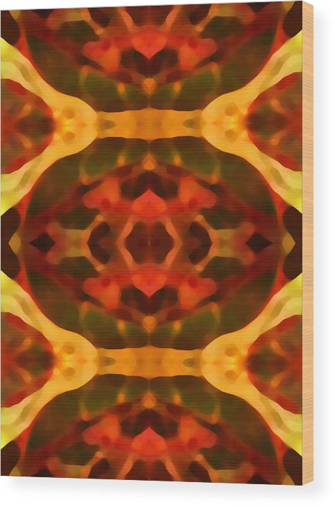 Abstract Painting Wood Print featuring the digital art Ruby Crystal Pattern by Amy Vangsgard