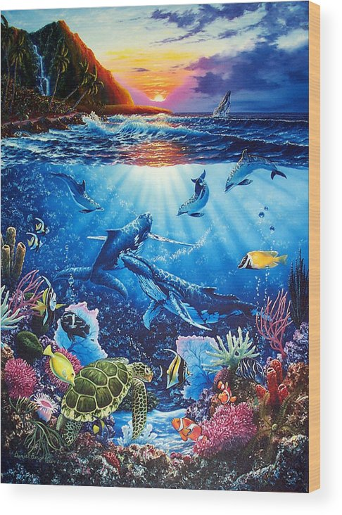 Whales Wood Print featuring the painting Sacred Waters by Daniel Bergren