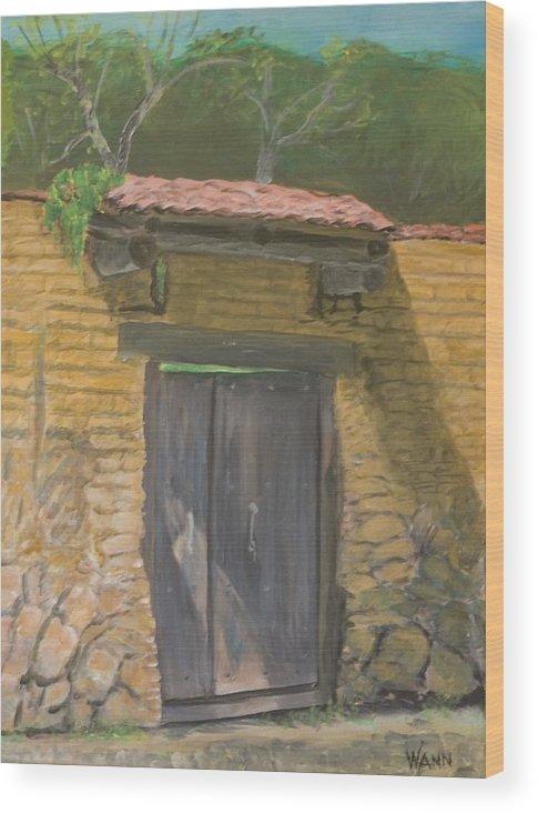 Buildings Wood Print featuring the painting San Sebastian Garden Door by Anita Wann