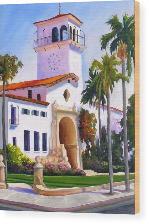 Architecture Wood Print featuring the painting Santa Barbara Court House by Dorothy Nalls
