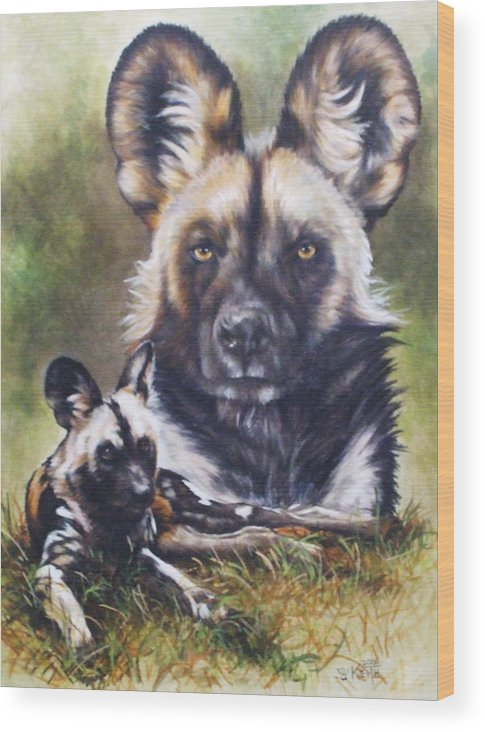 Wild Dogs Wood Print featuring the mixed media Scoundrel by Barbara Keith