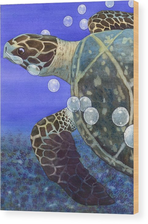 Turtle Wood Print featuring the painting Sea Turtle by Catherine G McElroy