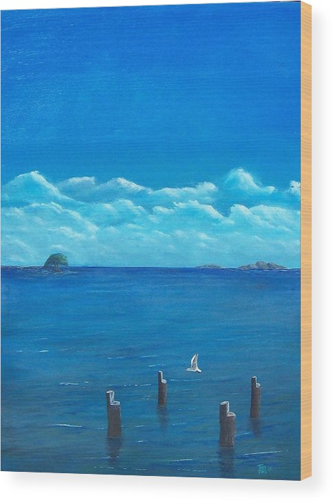 Seascape Wood Print featuring the painting Seagull Seascape IIi by Tony Rodriguez