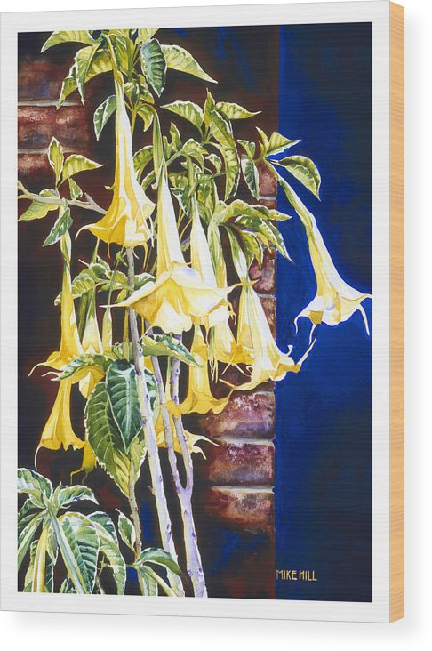 Angel Trumpets Yellow Bush Tree Bricks Blue Background Flowers Wood Print featuring the painting Seventh Heaven by Mike Hill