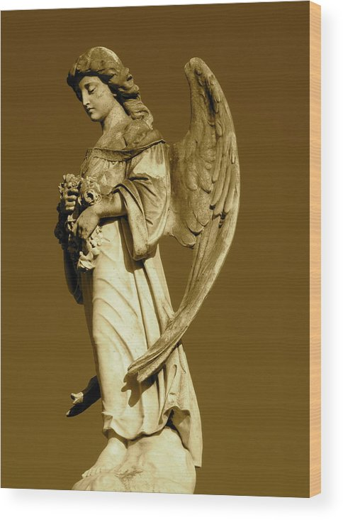 Angel Wood Print featuring the photograph She Stands In Silence by Barbara Palmer