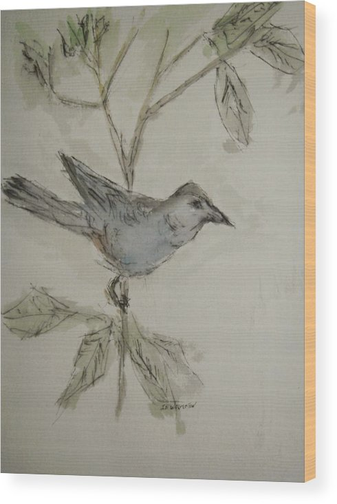 Birds Wood Print featuring the painting Silence Is Golden by Edward Wolverton