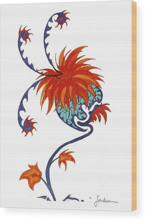 Orange Blue Surreal Artwork Wood Print featuring the painting Singing Flower by Jordana Sands