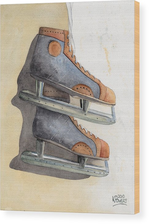 Skate Wood Print featuring the painting Skates by Ken Powers