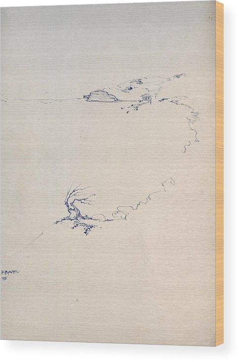 Joan Kamaru Wood Print featuring the drawing Sketch 5 by Joan Kamaru