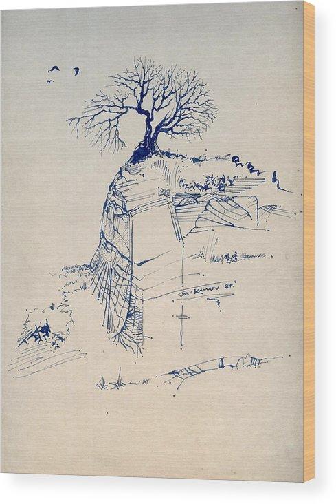 Joan Kamaru Wood Print featuring the drawing Sketch 7 by Joan Kamaru