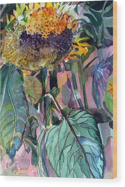 Sunflower Wood Print featuring the painting Sleepy Sunflower by Mindy Newman