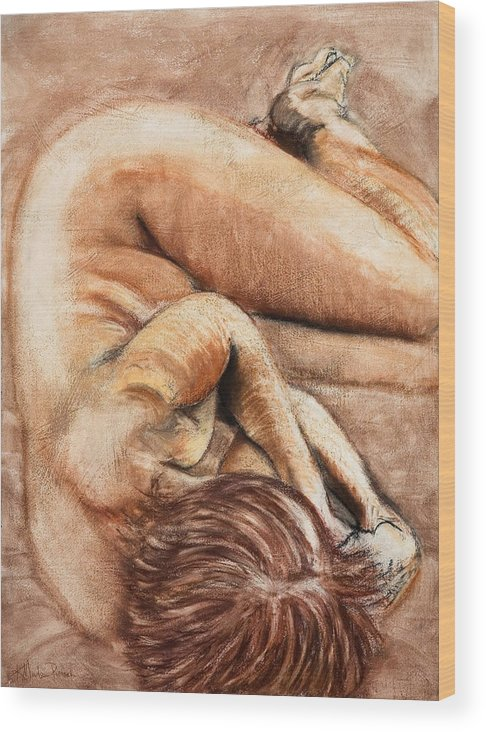 Nude Wood Print featuring the drawing Slumber Pose by Kerryn Madsen-Pietsch