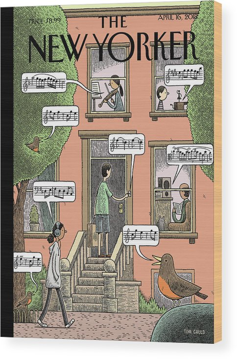 Soundtrack To Spring Wood Print featuring the drawing Soundtrack To Spring by Tom Gauld