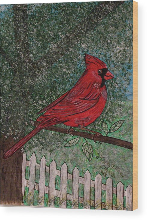 Springtime Wood Print featuring the painting Springtime Red Cardinal by Kathy Marrs Chandler