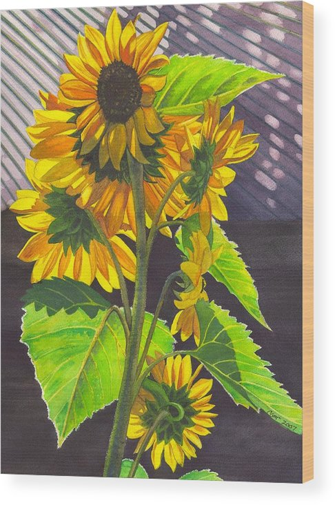 Sunflowers Wood Print featuring the painting Stalk Of Sunflowers by Catherine G McElroy