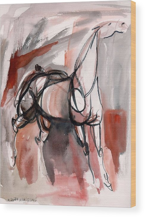 Horse Wood Print featuring the painting Stand Alone by Mary Armstrong