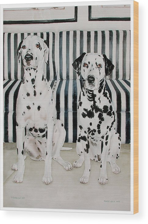 Portrait Wood Print featuring the painting Stanley And Stelle by Eileen Hale