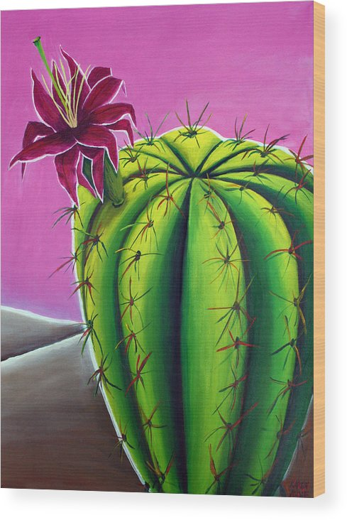Cactus Wood Print featuring the painting Stargazer Cactus by Karen Aune