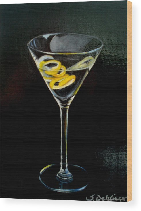 Martini Wood Print featuring the painting Straight Up And Twisted by Susan Dehlinger