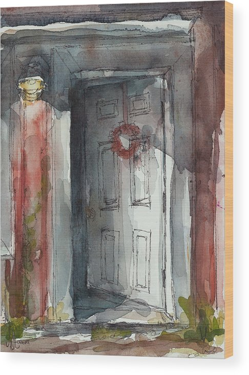 Door Wood Print featuring the painting Studio Nights by Ava Obert