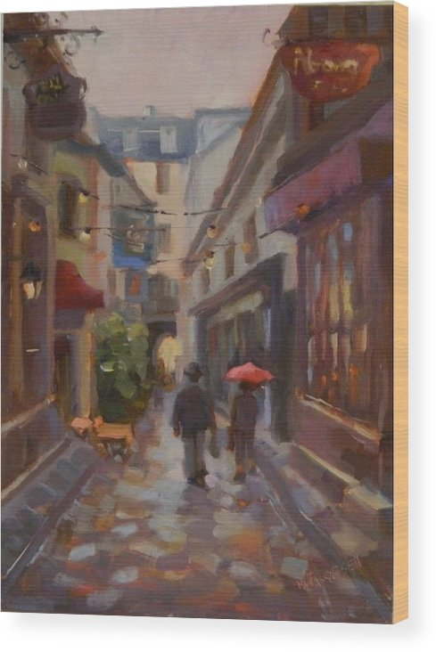 Red Umbrella Wood Print featuring the painting Summer Days by Maryanne Jacobsen