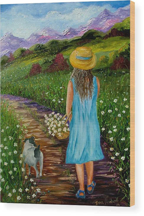 Girl Wood Print featuring the painting Summer Path by Inna Montano