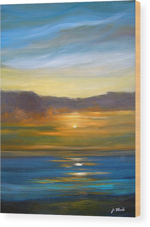 Seascape Wood Print featuring the painting Sunset 9 by Jeannette Ulrich
