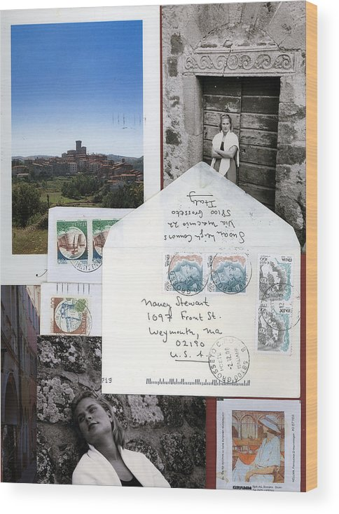 Blonde Woman In Italy Wood Print featuring the mixed media Susan In Italia by Nancy Ferrier