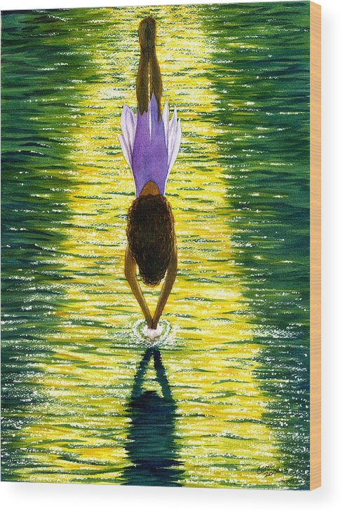 Dive Wood Print featuring the painting Take The Plunge by Catherine G McElroy