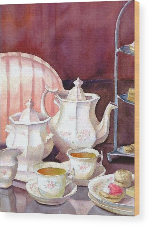 Tea Set Wood Print featuring the painting Tea For Two by Dorothy Nalls