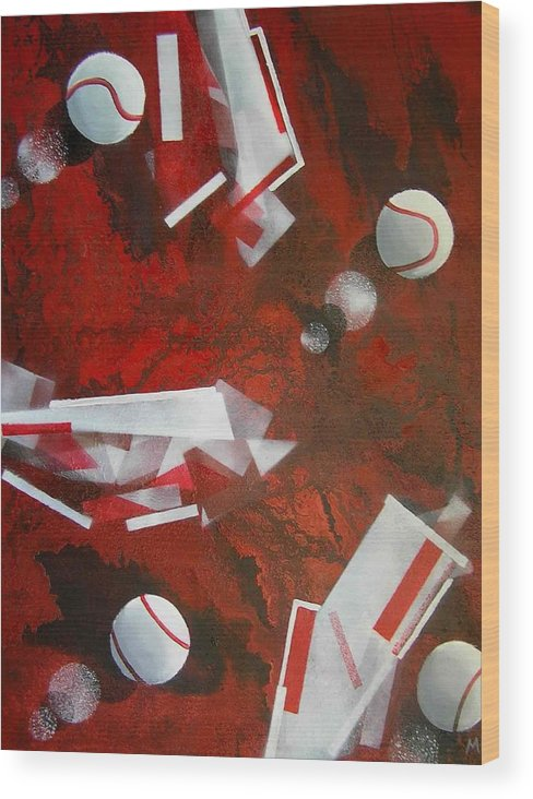 Tennis Balls Wood Print featuring the painting tennis on Mars by Evguenia Men