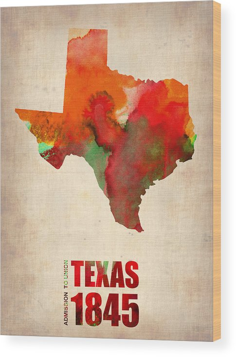 Texas Wood Print featuring the digital art Texas Watercolor Map by Naxart Studio