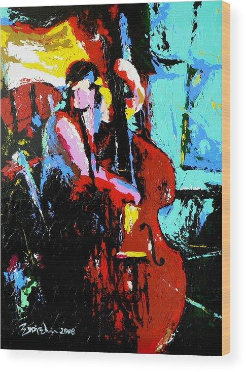 Jazz Music Wood Print featuring the painting The Bassist by Eddie Lim
