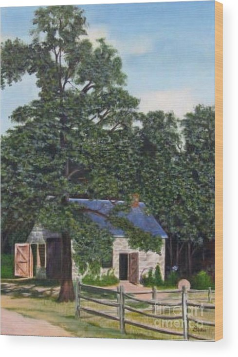 Landscape Wood Print featuring the painting The Blacksmith Shop by Donald Hofer