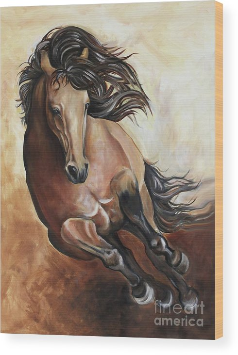Horse Wood Print featuring the painting The Buckskin Gallop by Debbie Hart