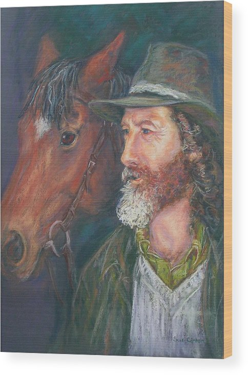 Horse & Rider Wood Print featuring the painting The Bushman by Sue Linton