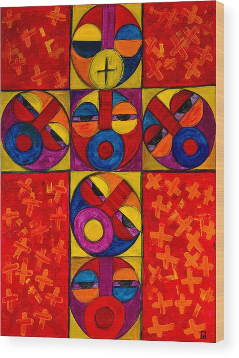The Cross Wood Print featuring the painting The Crucifix by Emeka Okoro