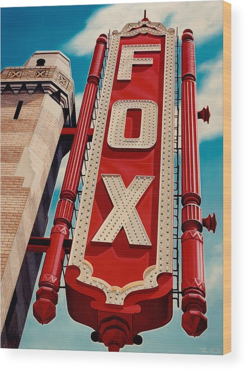 Cityscape Wood Print featuring the painting The Fox Theater by Van Cordle