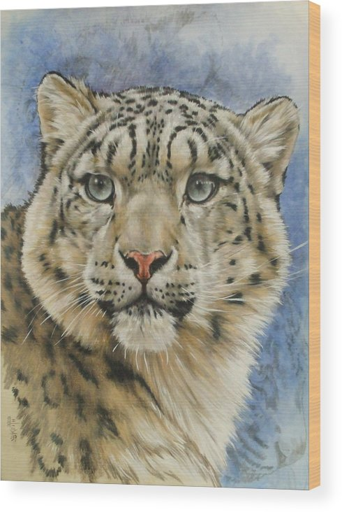 Snow Loepard Wood Print featuring the mixed media The Gaze by Barbara Keith