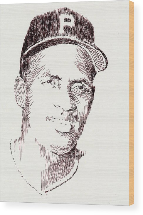 Pen Wood Print featuring the drawing The Great One by Robbi Musser