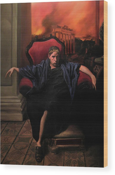 Figurative Art Wood Print featuring the painting The Madness Of Nero by Eric Armusik