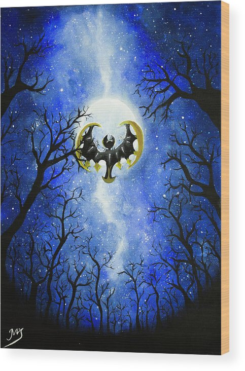 Wood Print featuring the painting the moon of Lunala by Magda Swinya