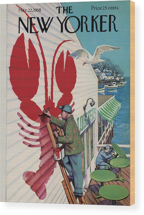 Food Wood Print featuring the photograph The New Yorker Cover - March 22, 1958 by Arthur Getz