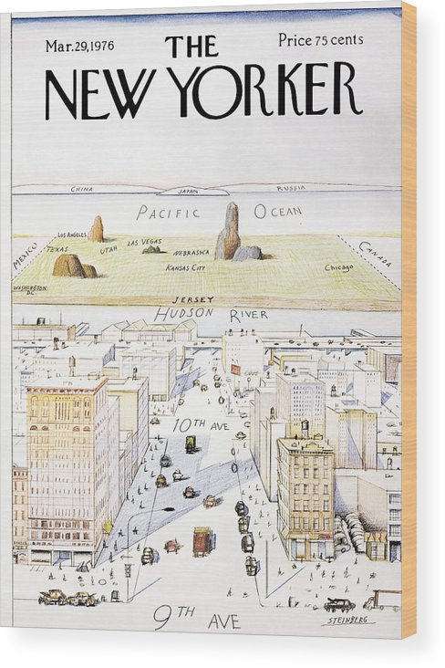 #condenastnewyorkercover Wood Print featuring the painting New Yorker March 29, 1976 by Saul Steinberg