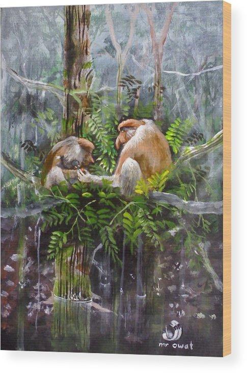 Painting Probosis Monkey Borneo Rare Animal Long Nose Wood Print featuring the painting The Probosis Monkey Family by Muyang Kumundan