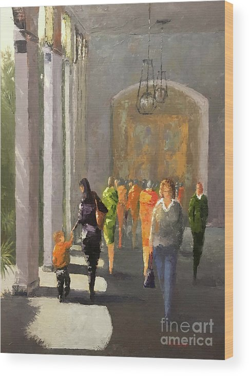 Oilpainting Wood Print featuring the painting The Promenade by Leah Wiedemer