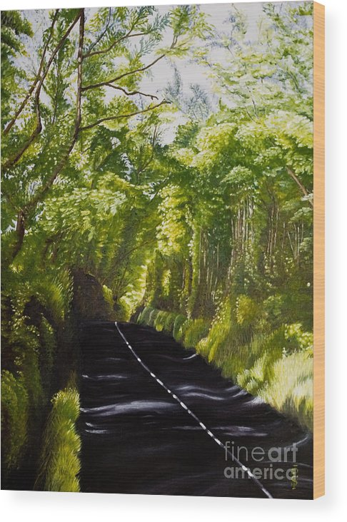Landscape Wood Print featuring the painting The Road Through Glenastar by Pauline Sharp