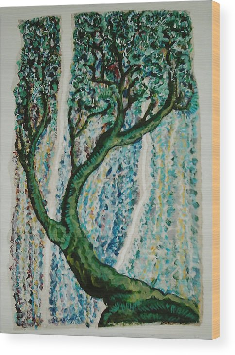 Tree Wood Print featuring the painting The Tree Energy by Helene Champaloux-Saraswati