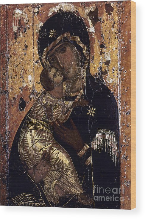 12th Century Wood Print featuring the photograph The Virgin Of Vladimir by Granger